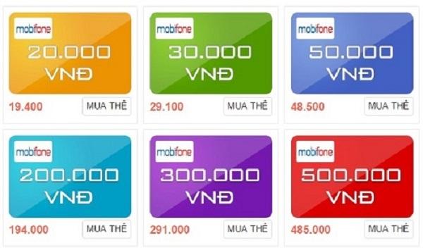 mệnh giá thẻ điện thoại Mobifone