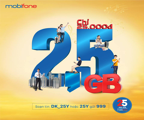 Đăng ký gói 25Y Mobifone 1 tháng chỉ 25.000đ