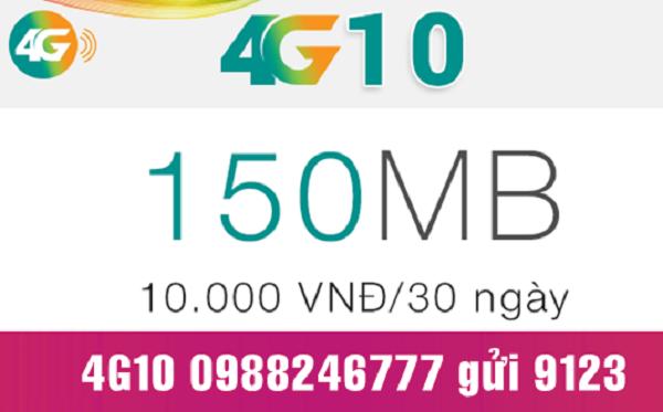 đăng ký gói 4G10 Viettel theo tháng