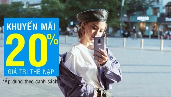 Vinaphone khuyến mãi 20% giá trị thẻ nạp cục bộ ngày 15/5/2018